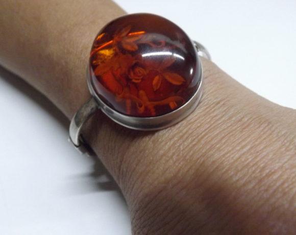 Bracciale argento 925 ambra incisa