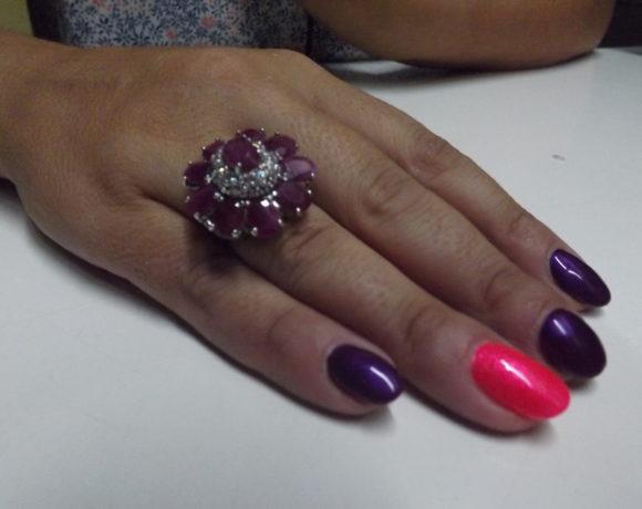 Anello argento 925 cerchio rubini