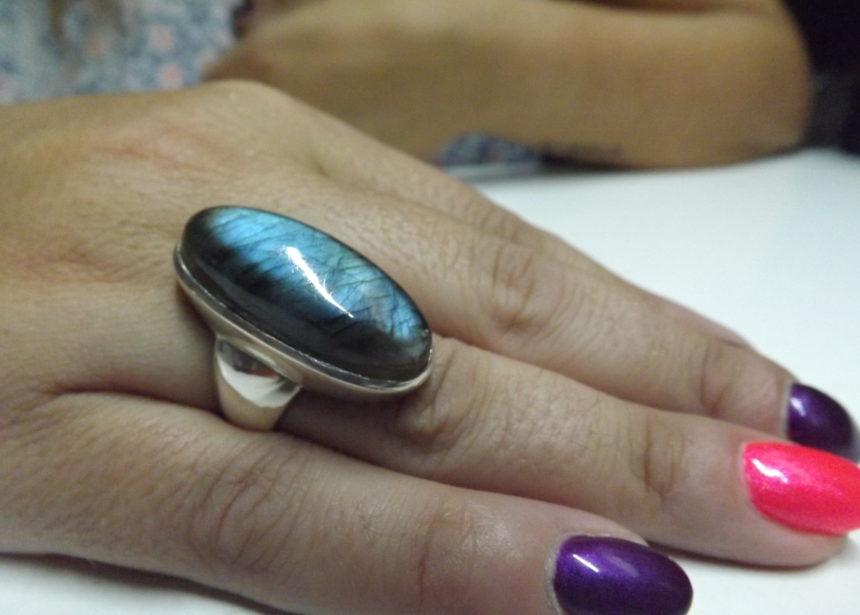 Anello argento 925 labradorite