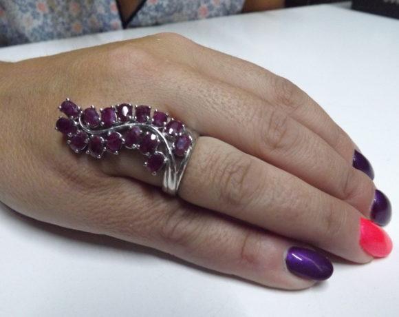 Anello argento 925 rubini