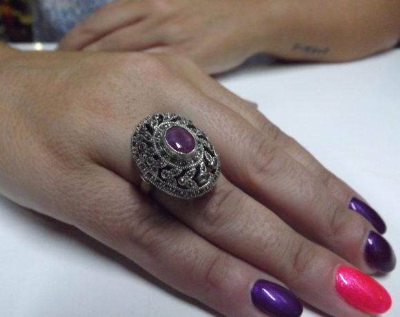 Anello argento 925 rubino