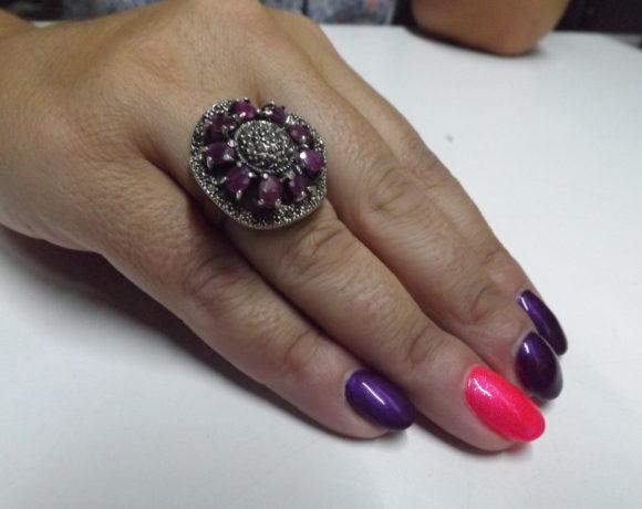 Anello argento 925 rubini e zirconi