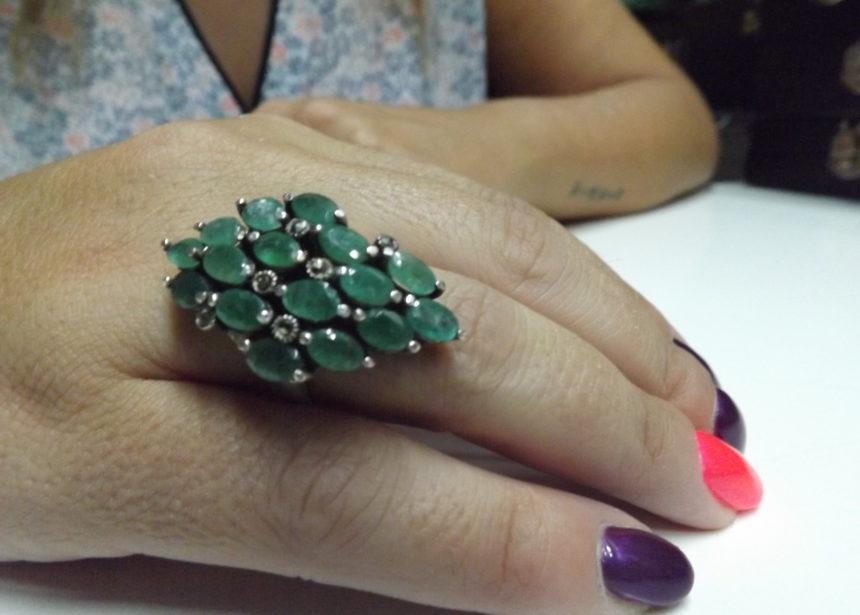 Anello argento 925 smeraldi