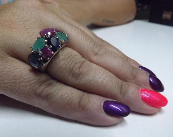 Anello argento 925 smeraldi rubini zaffiri