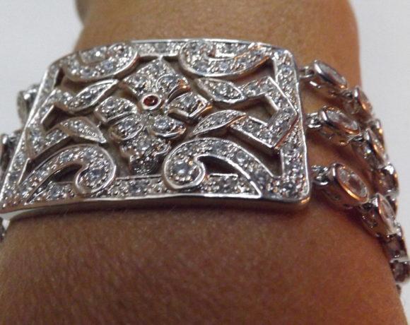 Bracciale argento 925 quarzo ialino
