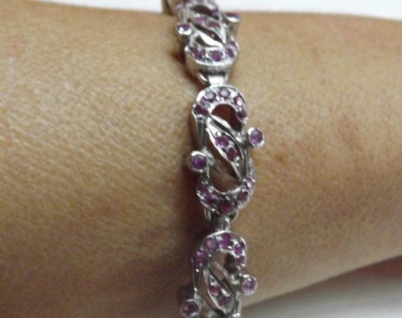 Bracciale argento 925 rubini