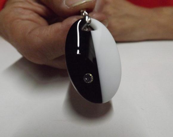 Ciondolo argento 925 agata bicolore