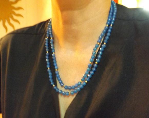 Collana argento 925 agata azzurra sfaccettata