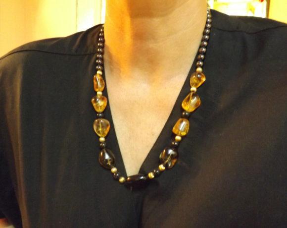 Collana argento 925 ematite e citrino