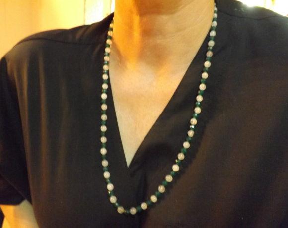 Collana argento 925 quarzo rosa e agata verde
