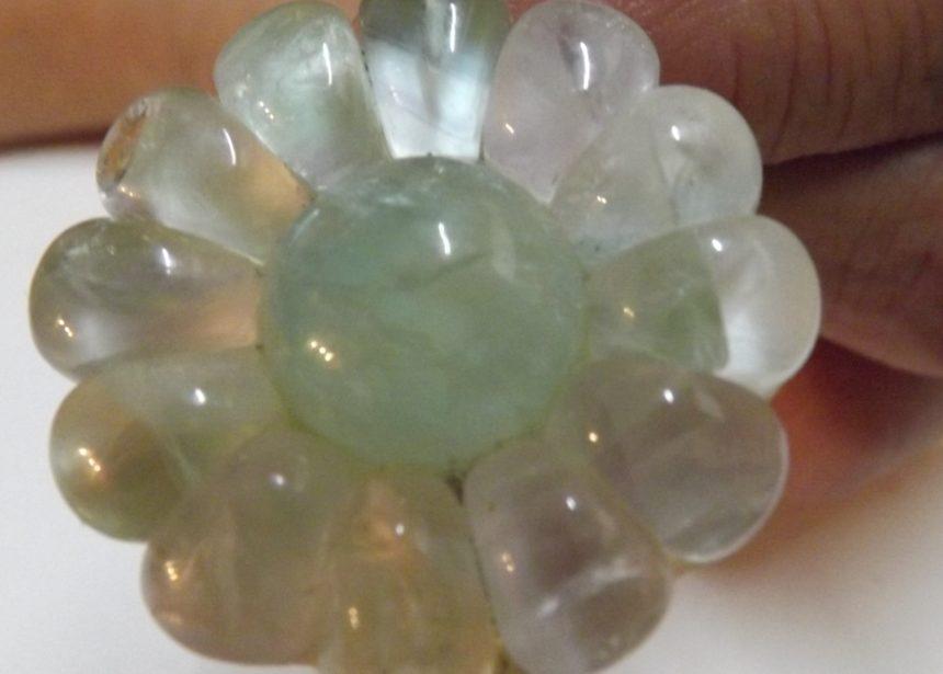 Ciondolo argento 925 fiore di fluorite su agata